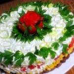 салат с крабовыми палочками слоями