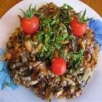 Горячий салат с баклажанами и рисом