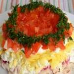 салат слоеный с курицей шампиньонами