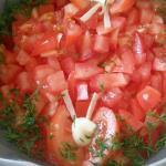 Салат с ветчиной, грибами и овощами
